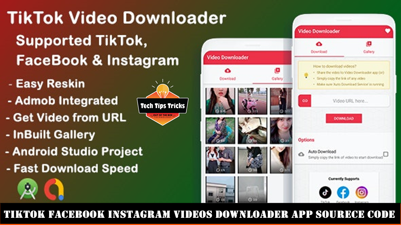 TikTok Facebook Instagram Videos Downloader App Sourece Code - Tech Tips Trick